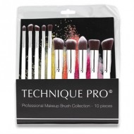 Technique® PRO Luksus Makeupbørster, Silver edition - 10 stk