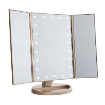 Uniq Hollywood Makeup Spejl Trifold spejl med LED lys, Rosegold (4777.2 )
