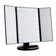 Uniq Hollywood Makeup Spejl Trifold spejl med LED lys, Sort (4777)