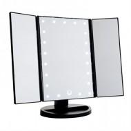 Uniq Hollywood Makeup Spejl Trifold spejl med LED lys, Sort (4777)