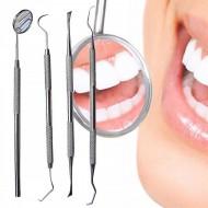 Dental - tandrensningssæt 4 dele  til Dental Hygiejne - 1 Mundspejl, 2x Curette tandrenser, 1 scraper